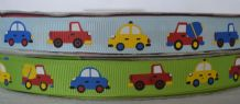 1.5cm CAR, TRUCK & CEMENT TRUCK GROSGRAIN RIBBON